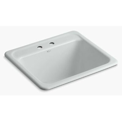 Glen Falls Top-Mount/Undermount Utility Sink with Two Faucet Holes Finish: Ice Grey