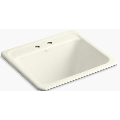 Glen Falls Top-Mount/Undermount Utility Sink with Two Faucet Holes Finish: Biscuit