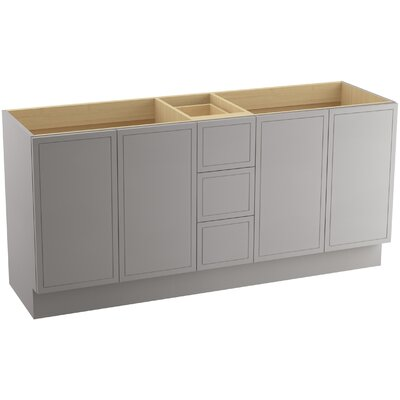 """Jacquard 72"""" Vanity with Toe Kick, 4 Doors and 3 Drawers, Split Top Drawer Finish: Mohair Grey"""