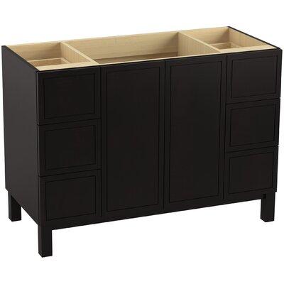 "Jacquard 48"" Vanity with Furniture Legs, 2 Doors and 6 Drawers Finish: Batiste Black"