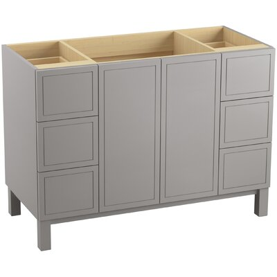 """Jacquard 48"""" Vanity with Furniture Legs, 2 Doors and 6 Drawers Finish: Mohair Grey"""