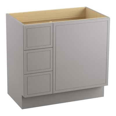"""Jacquard 36"""" Vanity with Toe Kick, 1 Door and 3 Drawers on Left Finish: Mohair Grey"""