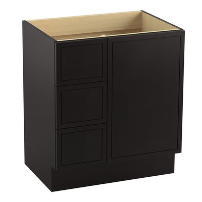 """Jacquard 30"""" Vanity with Toe Kick, 1 Door and 3 Drawers on Left Finish: Batiste Black"""