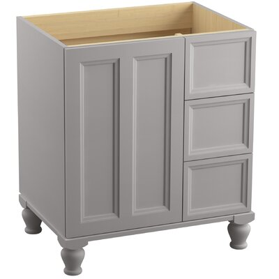 """Damask 30"""" Vanity with Furniture Legs, 1 Door and 3 Drawers on Right Finish: Mohair Grey"""