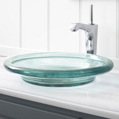 Spun Glass Circular Vessel Bathroom Sink Finish: Translucent Dew
