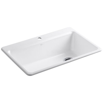 """Riverby 33"""" L x 22"""" W x 9-5/8"""" Top-Mount Single-Bowl Kitchen Sink with Accessories Finish: White"""