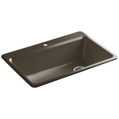 """Riverby 33"""" L x 22"""" W x 9-5/8"""" Top-Mount Single-Bowl Kitchen Sink with Accessories Finish: Suede"""