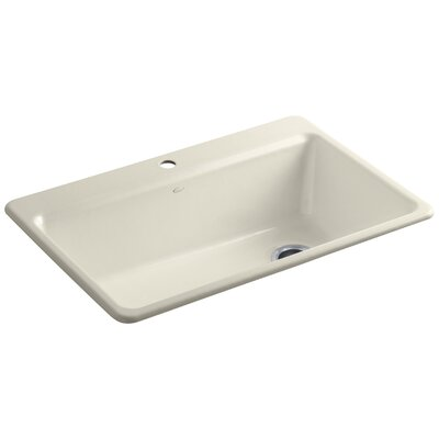 """Riverby 33"""" L x 22"""" W x 9-5/8"""" Top-Mount Single-Bowl Kitchen Sink with Accessories Finish: Almond"""