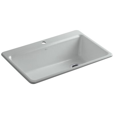 """Riverby 33"""" L x 22"""" W x 9-5/8"""" Top-Mount Single-Bowl Kitchen Sink with Accessories Finish: Ice Grey"""