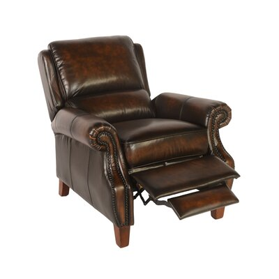 Minor Leather Manual Recliner Upholstery: Black/Tan