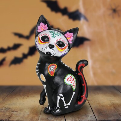 Sugar Skull Cat Figurine
