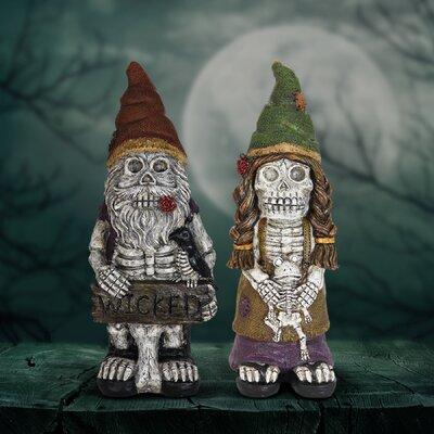 2 Piece Skeleton Gnome Couple Oversized Figurine