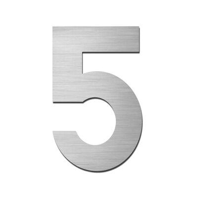 """Serafini Hausnummer selbstklebend """"5"""" aus Edelstahl V4A"""