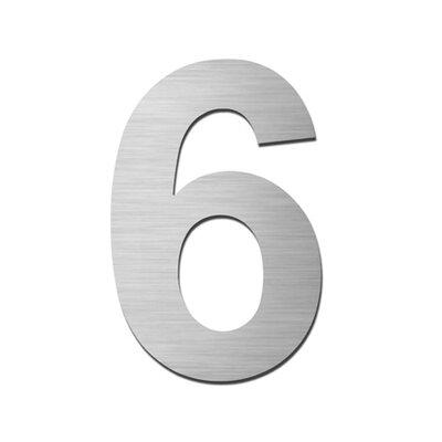 """Serafini Hausnummer selbstklebend """"6"""" aus Edelstahl V4A"""