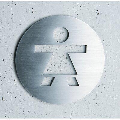 "Serafini Piktogramm rund selbstklebend ""Damen"" aus Edelstahl V4A"