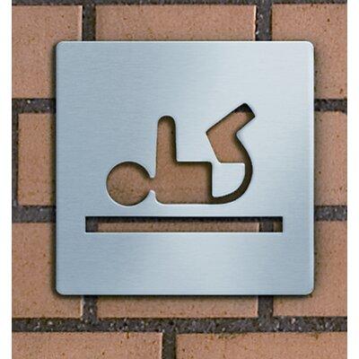 "Serafini Piktogramm quadratisch selbstklebend ""Babywickelraum"" aus Edelstahl V4A"