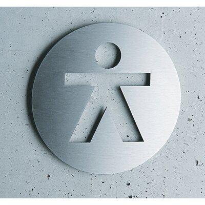 "Serafini Piktogramm rund selbstklebend ""Herren"" aus Edelstahl V4A"