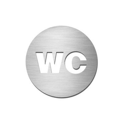 "Serafini Piktogramm rund selbstklebend ""WC"" aus Edelstahl V4A"