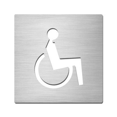 "Serafini Piktogramm quadratisch selbstklebend ""Behinderte"" aus Edelstahl V4A"