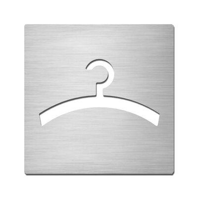 "Serafini Piktogramm quadratisch selbstklebend ""Garderobe"" aus Edelstahl V4A"
