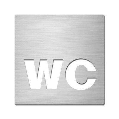 "Serafini Piktogramm quadratisch selbstklebend ""WC"" aus Edelstahl V4A"