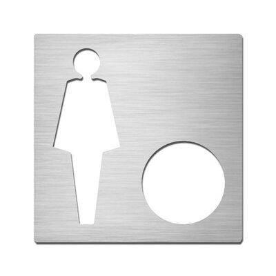 "Serafini Piktogramm quadratisch selbstklebend ""Damen mit Option"" aus Edelstahl V4A"