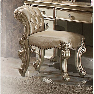 Welles Vanity Stool Color: Gold Patina/Bone