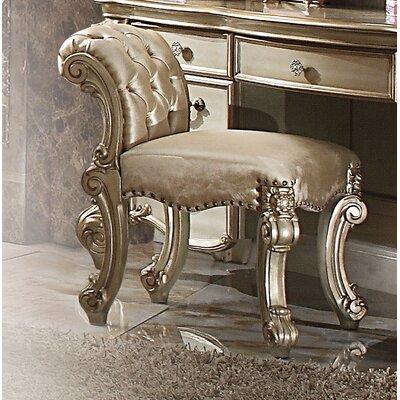 Welles Vanity Stool Color: Gold Patina/Bone