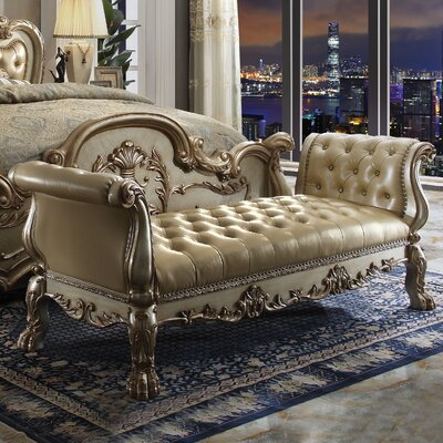 Welliver Upholstered Bench Color: Gold Patina/Bone