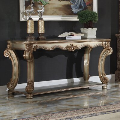 "Welles Console Table Size: 30"" H x 56"" W x 23"" D, Color: Gold Patina"