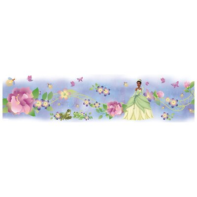 "Room Mates Princess and Frog 15' x 5"" Floral and Botanical Border Wallpaper"