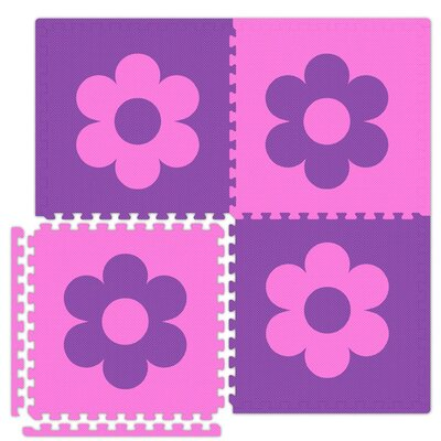 Economy SoftFloors Flower Set in Pink/Purple Size: 8' x 10'