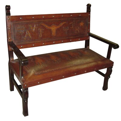 Tylersburg Heritage Leather Bench Color: Antique Brown