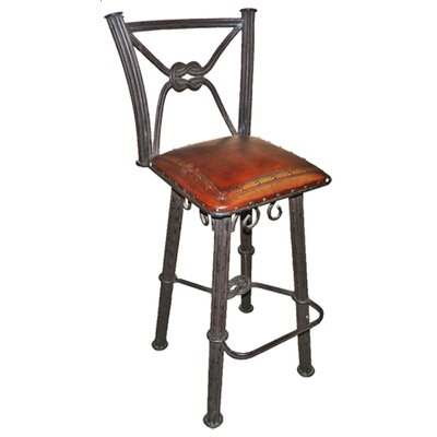 "Chaucer Traditional 30"" Bar Stool with Leather Seat (Set of 2)"