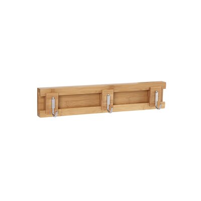 Bamboo Sliding 3-Hook Wall Coat Rack