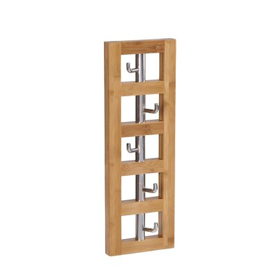 Bamboo Vertical 5-Hook Wall Coat Rack