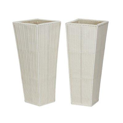 2 Piece Resin Floor Pot Planter Set Color: White