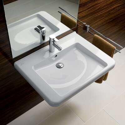 "Renova Ceramic 22"" Wall Mount Bathroom Sink with Overflow"