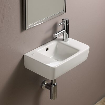 "Elements Ceramic 16"" Wall Mount Bathroom Sink with Overflow"