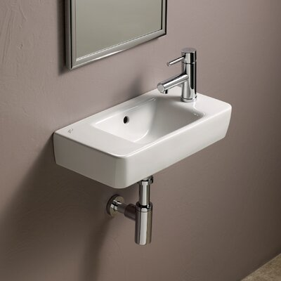 "Comprimo Ceramic 20"" Wall Mount Bathroom Sink with Overflow"