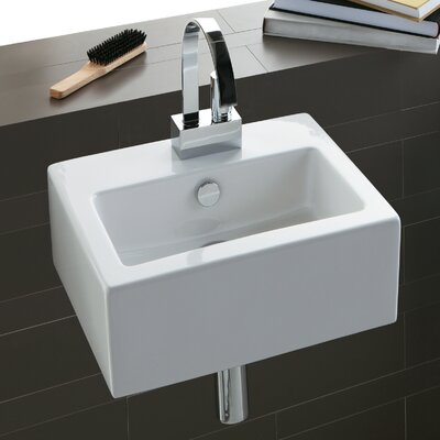 """Area Boutique Ceramic 17"""" Wall Mount Bathroom Sink with Overflow"""