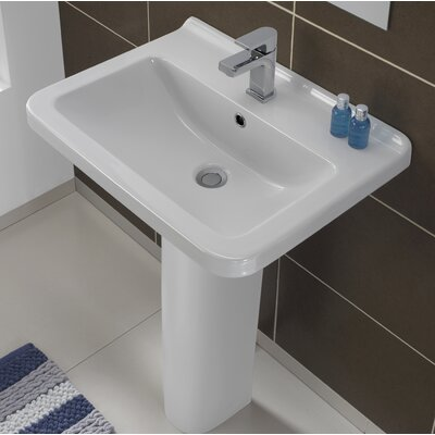 "Erika Vitreous China 22"" Pedestal Bathroom Sink with Overflow"