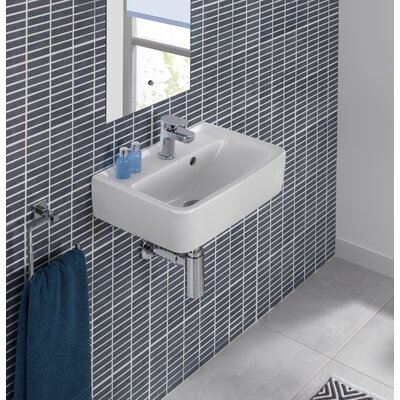 "Renova Ceramic 18"" Wall Mount Bathroom Sink with Overflow"
