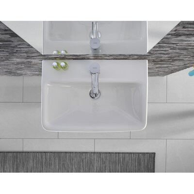 "Comprimo Ceramic 22"" Wall Mount Bathroom Sink with Overflow"