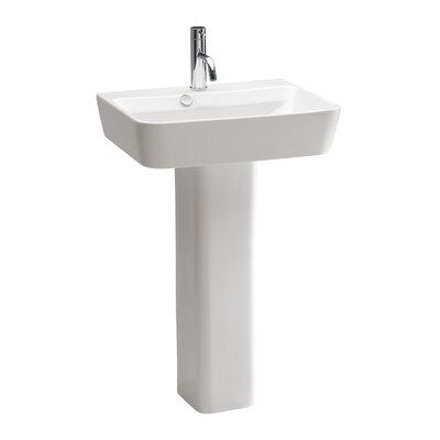 "Emma Ceramic 22"" Pedestal Bathroom Sink with Overflow"