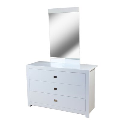 Heartlands Furniture Sokoto 3 Drawer Chest with Mirror