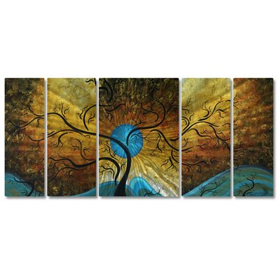 All My Walls 'Moon' by Megan Duncanson 5 Piece Graphic Art Plaque Set