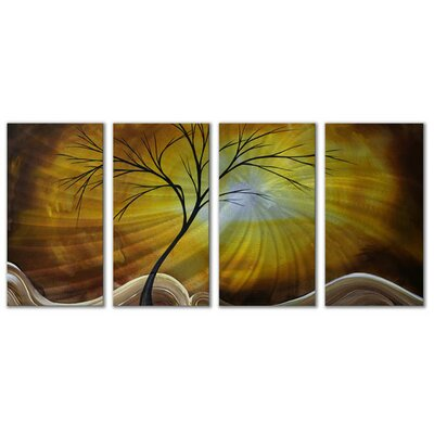 All My Walls 'Golden Sky' by Megan Duncanson 4 Piece Graphic Art Plaque Set
