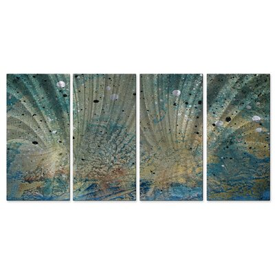 All My Walls 'On The Beach III' by Megan Duncanson 4 Piece Graphic Art Plaque Set