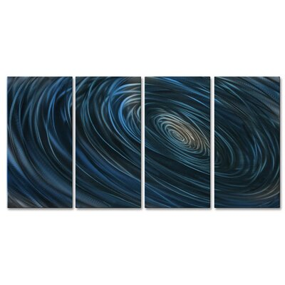 All My Walls 'Blue Abyss III' by Ash Carl 4 Piece Graphic Art Plaque Set